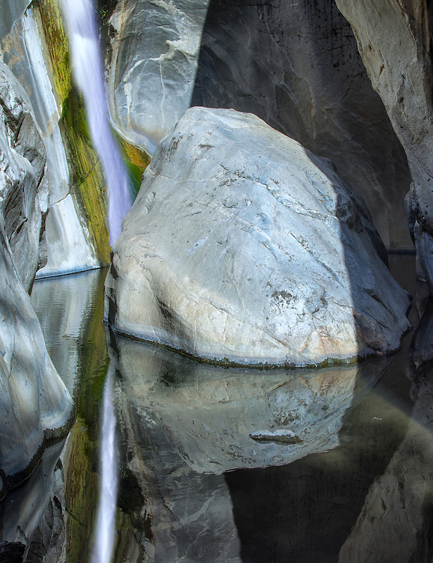 Tahquitz Falls, and reflection. Tahquitz Canyon, Palm Springs, California