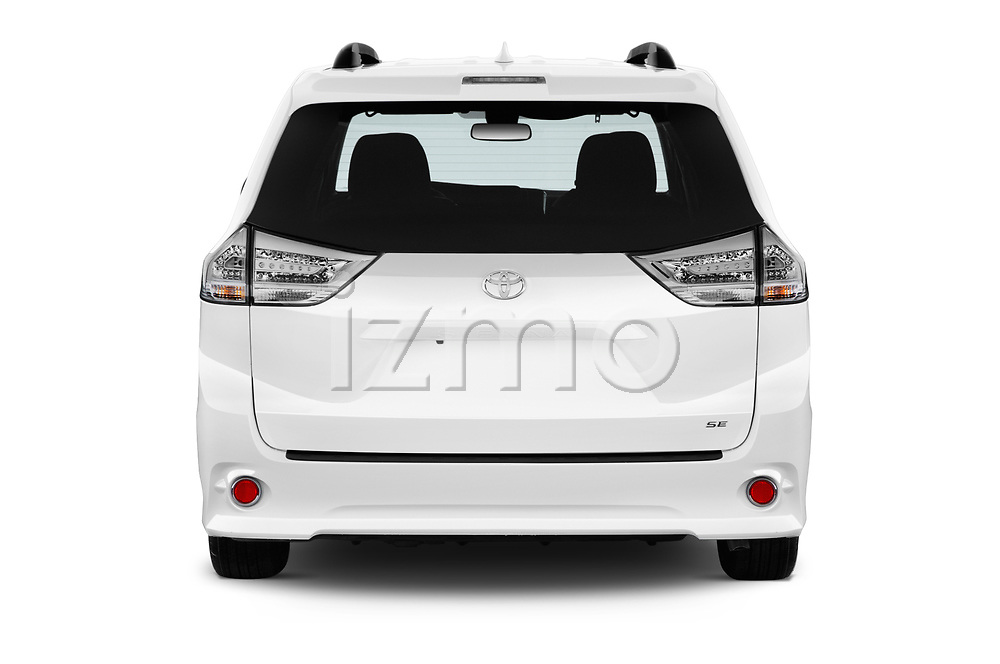 Straight rear view of a 2020 Toyota Sienna SE 5 Door Mini Van stock images