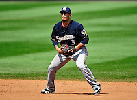 23 August 2009: Milwaukee Brewers' infielder Felipe Lopez in action against the Washington Nationals at Nationals Park in Washington, DC. The Nationals defeated the Brewers 8-3 to take the third game of their four-game series, snapping a five games losing streak. Mandatory Credit: Ed Wolfstein Photo