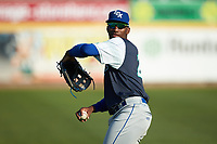 Seuly Matias (25) of the Lexington Legends warms up in the outfield prior to the game against the West Virginia Power at Appalachian Power Park on June 7, 2018 in Charleston, West Virginia. The Power defeated the Legends 5-1. (Brian Westerholt/Four Seam Images)