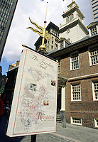 Boston, Mass..Looking up at the spire of the Old Boston State House (built 1713), with the Freedom Trail map in the foreground