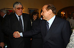 """DOMENICO CONTESTABILE CON SILVIO BERLUSCONI<br /> 75° COMPLEANNO DI LINO JANNUZZI - """"DA FORTUNATO AL PANTHEON"""" ROMA 2003"""