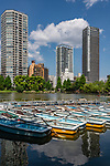 Boats on the lake in Ueno Park, Tokyo, Japan.