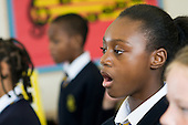 Year 6 singing lesson, St Mary and St Michael Primary School, Stepney, Tower Hamlets, London