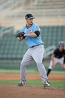 Hickory Crawdads relief pitcher Jacob Lemoine (29) in action against the Kannapolis Intimidators in game one of a double-header at Kannapolis Intimidators Stadium on May 19, 2017 in Kannapolis, North Carolina.  The Crawdads defeated the Intimidators 5-4.  (Brian Westerholt/Four Seam Images)