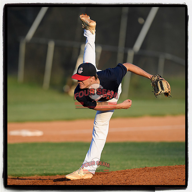 J.L. Mann senior Braden Buffington (10) of the Greer Warhawks delivers a pitch in a South Carolina American League game against Easley on Thursday, July 16, 2020, at Stevens Field in Greer, South Carolina. Greer won, 9-4. (Tom Priddy/Four Seam Images)