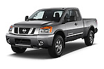 2014 Nissan Titan PRO 4-X King Cab 2WD 2 Door Truck Angular Front stock photos of front three quarter view