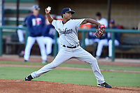 Pulaski Yankees starting pitcher Daniel Ramos (36) delivers a pitch during game one of the Appalachian League Championship Series against the Elizabethton Twins at Joe O'Brien Field on September 7, 2017 in Elizabethton, Tennessee. The Twins defeated the Yankees 12-1. (Tony Farlow/Four Seam Images)