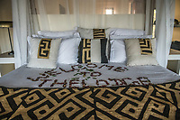 Africa, Botswana, Khwai, The Lodge, Feline Fields, edge of the Kalahari desert. The room.