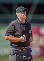 5 September 2016: MiLB Umpire James Folske works the infield during a game between the Vermont Lake Monsters and the Lowell Spinners at Centennial Field in Burlington, Vermont. The Monsters defeated the Spinners 9-5 to close out their 2016 NY Penn League season. Mandatory Credit: Ed Wolfstein Photo *** RAW (NEF) Image File Available ***
