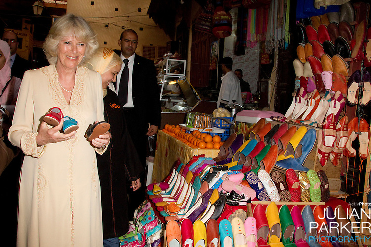 The Prince of Wales, and The Duchess of Cornwall on a three day official visit to Morocco..The Duchess of Cornwall visits the Medina, in Fez, Morocco.