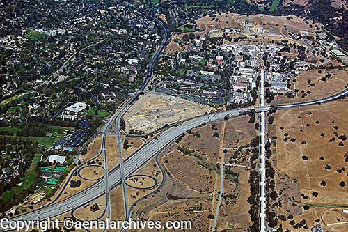 aerial photograph of the Stanford Linear Accelerator Center, SLAC National Accelerator Laboratory, Sand Hill Road, Menlo Park, San Mateo county, California