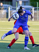 Lorene Martin (6) of KRC Genk heads the ball away during a female soccer game between  Racing Genk Ladies and White Star Woluwe on the 8 th matchday of play off 2 in the 2020 - 2021 season of Belgian Scooore Womens Super League , tuesday 18 th of May 2021  in Genk , Belgium . PHOTO SPORTPIX.BE | SPP | JILL DELSAUX