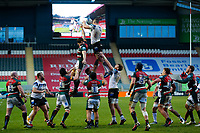 3rd January 2021; Welford Road Stadium, Leicester, Midlands, England; Premiership Rugby, Leicester Tigers versus Bath Rugby; A general view of a line out during play with snow falling