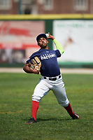 Alberto Fabian (9) warms up during the Dominican Prospect League Elite Underclass International Series, powered by Baseball Factory, on July 31, 2017 at Silver Cross Field in Joliet, Illinois.  (Mike Janes/Four Seam Images)