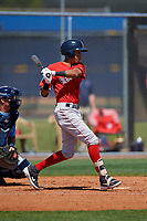 Boston Red Sox Ricardo Cubillan (3) bats during a Minor League Spring Training game against the Tampa Bay Rays on March 25, 2019 at the Charlotte County Sports Complex in Port Charlotte, Florida.  (Mike Janes/Four Seam Images)