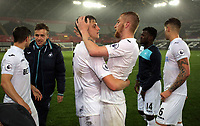 Pictured: Keston Davies of Swansea City and Oliver McBurnie celebrate their win (C) Monday 15 May 2017<br />Re: Premier League Cup Final, Swansea City FC U23 v Reading U23 at the Liberty Stadium, Wales, UK