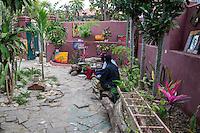 Art on Display inside a Courtyard, Goree Island, Senegal