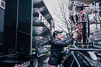 mechanic Glen Leven of Team trek-Segafredo at work<br />