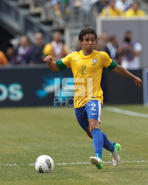 Brazil defender Rafael Silva (2) at midfield. In an international friendly (Clash of Titans), Argentina defeated Brazil, 4-3, at MetLife Stadium on June 9, 2012.