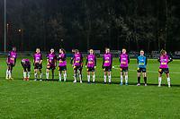line-up Aalst ( Henriette Awete (13) , Stephanie Van Gils (10) , Niekie Pellens (14) , Annelies Van Loock (9) , Valentine Hannecart (8) , Margaux Van Ackere (7) , Tiffanie Vanderdonckt (5) , Loes Van Mullem (3) , Naomi De Wolf (2) , Goalkeeper Silke Baccarne (1) , Chloe Van Mingeroet (6) ) pictured before a female soccer game between  Racing Genk Ladies and Eendracht Aalst on the 15 th matchday of the 2020 - 2021 season of Belgian Scooore Womens Super League , friday 5 th of March 2021  in Genk , Belgium . PHOTO SPORTPIX.BE   SPP   STIJN AUDOOREN