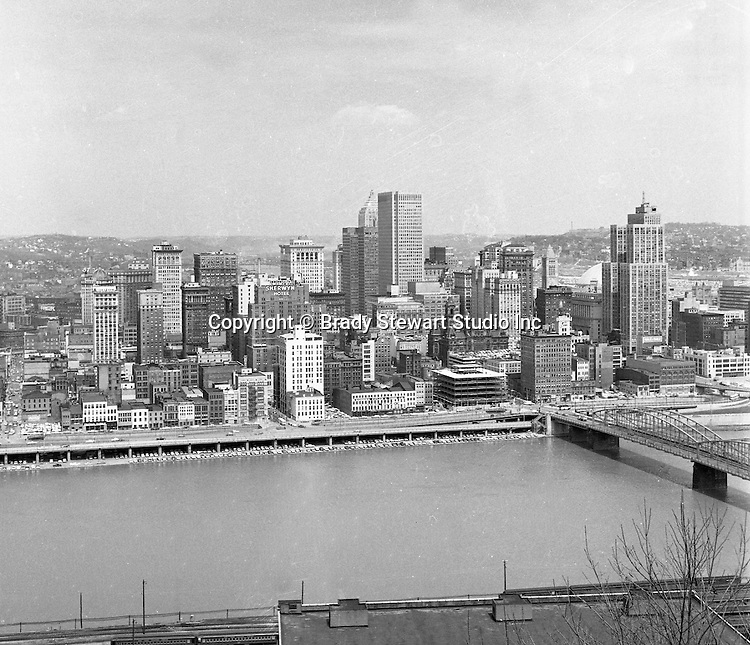Pittsburgh PA:  View of the city's skyline.  The view includes the Grant, William Penn Place, and Gulf Buildings, and the construction of the Blue Cross Building on Smithfield and Fort Pitt Boulevard.