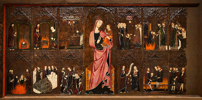 Gothic painted Altar frontal of the Corpus Christi by Master of Vallbona de les Monges possibly Guillem Seguer. Tempera, stucco reliefs, gold leaf and varnished metal plate on wood. Circa 1335-1345. 106.5 x 223.2 x 9.3 cm. From the chapel of Corpus Christi in the church of the monastery of Santa Maria de Vallbona de les Monges (Urgell).  National Museum of Catalan Art, inv no: 009919-000