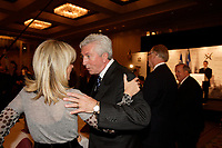 Montreal (Qc) CANADA - Sept 24 2008 -<br /> <br /> Gilles Duceppe, leader Bloc Quebecois adress the Montreal Board of Trade members, during ther Federal Election Campaign. THe Canadian elections will b held October 14, 2008.<br /> <br /> IN the photo : Duceppe (R) is greeted by Isabelle Hudon, President, Montreal Board of Trade (L)