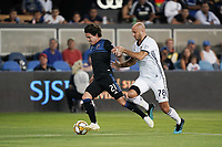 SAN JOSE, CA - SEPTEMBER 25: Carlos Fierro #21 of the San Jose Earthquakes is defended by Aurelien Collin #78 of the Philadelphia Union during a Major League Soccer (MLS) match between the San Jose Earthquakes and the Philadelphia Union on September 25, 2019 at Avaya Stadium in San Jose, California.