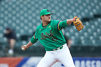 Notre Dame Fighting Irish starting pitcher Brad Bass (45) in action against the Florida State Seminoles in Game Four of the 2017 ACC Baseball Championship at Louisville Slugger Field on May 24, 2017 in Louisville, Kentucky. The Seminoles walked-off the Fighting Irish 5-3 in 12 innings. (Brian Westerholt/Four Seam Images)