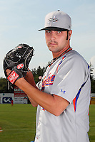 Aberdeen Ironbirds pitcher T.R. Keating (29) poses for a photo before a game vs. the Batavia Muckdogs at Dwyer Stadium in Batavia, New York;  August 11, 2010.   Batavia defeated Aberdeen 10-1.  Photo By Mike Janes/Four Seam Images