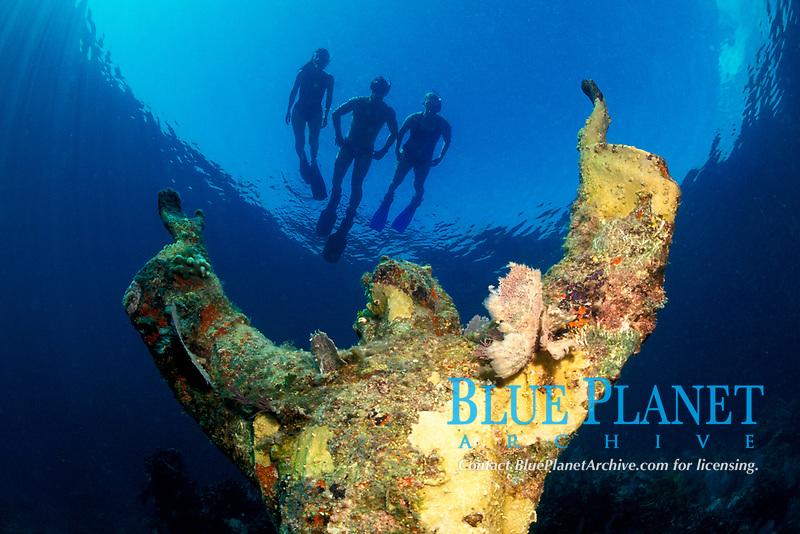 snorkelers above Christ of the Deep, Dry Rocks, Key Largo, Florida Keys National Marine Sanctuary, Florida, Atlantic Ocean