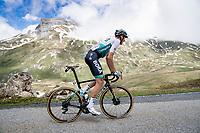 Nils Politt (DEU/BORA - hansgrohe) up the snowy Cormet de Roselend (2cat/1968m/5.7km@6.5%)<br /> <br /> 73rd Critérium du Dauphiné 2021 (2.UWT)<br /> Stage 7 from Saint-Martin-le-Vinoux to La Plagne (171km)<br /> <br /> ©kramon