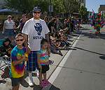 Lukas, Jason and Alysia during the Pride Parade in Reno, Nevada on Saturday, July 27, 2019.