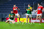 Jack Sherwood, Kerry in action against Kevin O' Driscoll, Cork, during the Munster GAA Football Senior Championship Semi-Final match between Cork and Kerry at Páirc Uí Chaoimh in Cork.