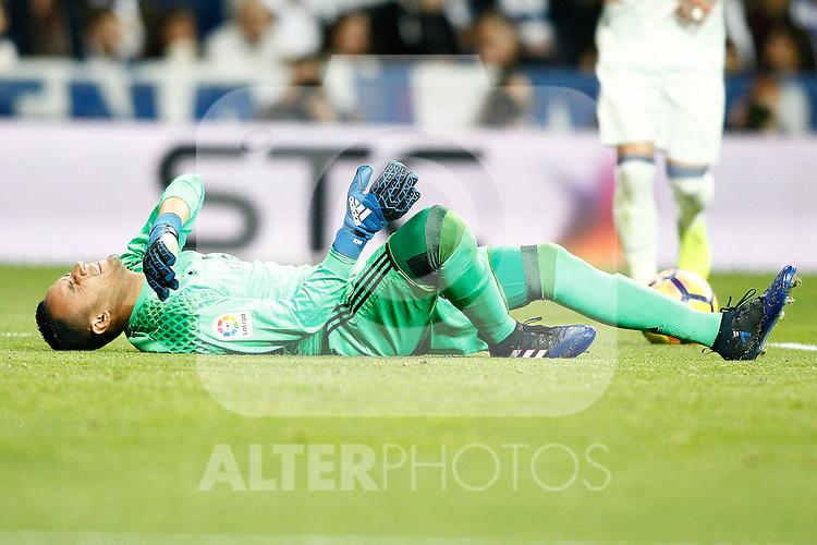 Real Madrid's Keylor Navas injured during La Liga match. March 1,2017. (ALTERPHOTOS/Acero)