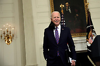 U.S. President Joe Biden smiles after delivering remarks on the March jobs report at the White House in Washington on April 2, 2021. <br /> Credit: Yuri Gripas / Pool via CNP /MediaPunch