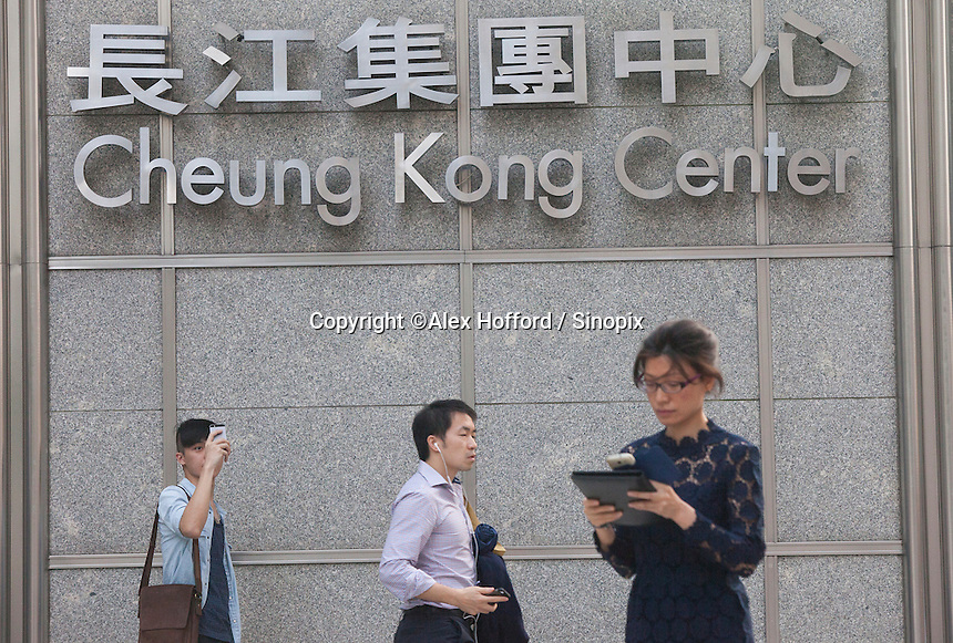 An exterior shot of the Cheung Kong Center, headquarters of Cheung Kong Holdings, Central district, Hong Kong, China, 28 April 2014.