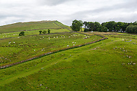Northumberland,  England, UK.  Hadrian's Wall (Pennine Way) Footpath Ascending Peel Crags.