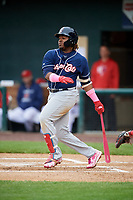 New Hampshire Fisher Cats third baseman Vladimir Guerrero Jr. (27) follows through on a swing during the second game of a doubleheader against the Harrisburg Senators on May 13, 2018 at FNB Field in Harrisburg, Pennsylvania.  Harrisburg defeated New Hampshire 2-1.  (Mike Janes/Four Seam Images)