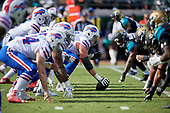 Buffalo Bills center Eric Wood (70) and the offensive line down and ready during an NFL Wild-Card football game against the Jacksonville Jaguars, Sunday, January 7, 2018, in Jacksonville, Fla.  (Mike Janes Photography)