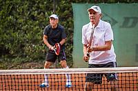 Hilversum, The Netherlands,  August 20, 2021,  Tulip Tennis Center, NKS, National Senior Tennis Championships, Men's double 75+, Frank van Lerven (NED) (R) and Tjoen Lew Lim (NED)<br /> Photo: Tennisimages/Henk Koster