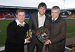 St Johnstone Player of the Year Awards...04.05.13.Murray Davidson presented with the Auchterarder Supporters Club Player of the Year Award vy John Mallis and Cyril Thomson..Picture by Graeme Hart..Copyright Perthshire Picture Agency.Tel: 01738 623350  Mobile: 07990 594431