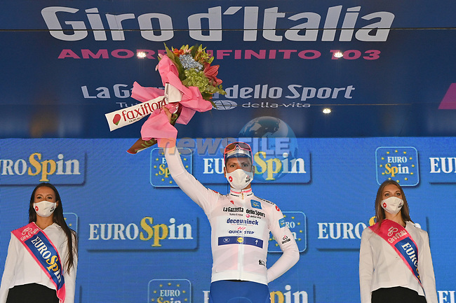Race leader Joao Almeida (POR) Deceuninck-Quick Step also retains the young riders Maglia Bianca at the end of Stage 6 of the 103rd edition of the Giro d'Italia 2020 running 188km from Castrovillari to Matera, Sicily, Italy. 7th October 2020.  <br /> Picture: LaPresse/Massimo Paolone | Cyclefile<br /> <br /> All photos usage must carry mandatory copyright credit (© Cyclefile | LaPresse/Massimo Paolone)