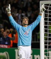 Partizan goalkeeper Vladimir Stojkovic, celebrate after save the penalty,  during  UEFA Champions league match in group H FC Partizan Belgrade Vs. Arsenal, London, Serbia, Monday, Sept. 28, 2010.  (Srdjan Stevanovic/Starsportphoto.com)