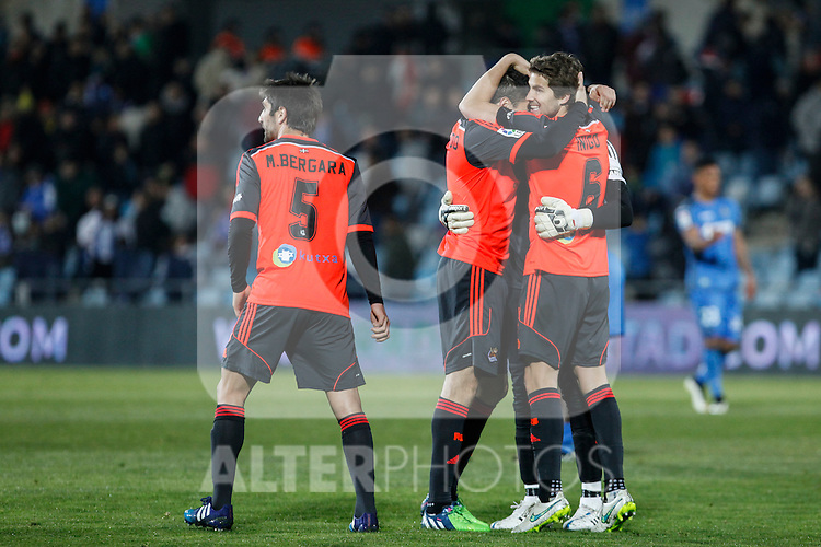 Real Sociedad´s players celebrate their victory at 2014-15 La Liga match at Alfonso Perez Coliseum stadium in Madrid, Spain. March 16, 2015. (ALTERPHOTOS/Victor Blanco)