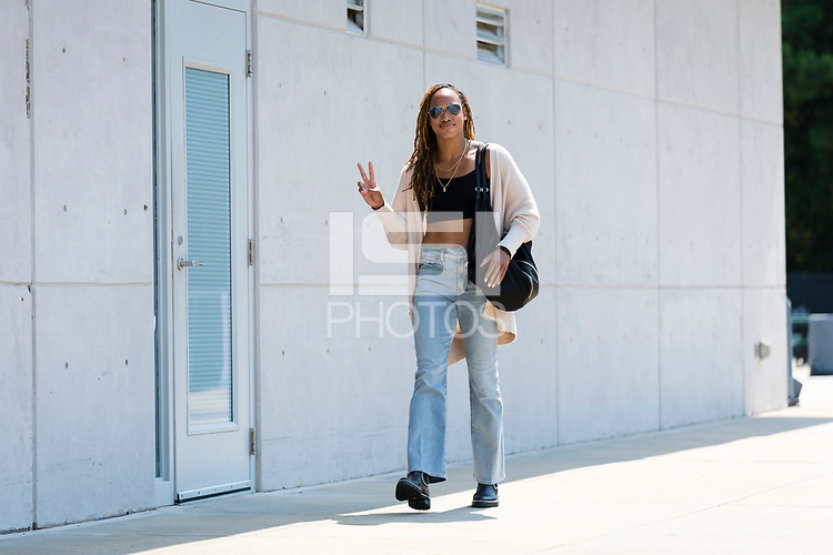 CARY, NC - SEPTEMBER 12: Jessica McDonald #14 of the NC Courage arrives at Sahlen's Stadium before a game between Portland Thorns FC and North Carolina Courage at WakeMed Soccer Park on September 12, 2021 in Cary, North Carolina.