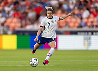 HOUSTON, TX - JUNE 10: Abby Dahlkemper #7 of the USWNT crosses the ball during a game between Portugal and USWNT at BBVA Stadium on June 10, 2021 in Houston, Texas.