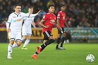 Roque Mesa of Swansea City marks Jesse Lingard of Manchester United during the Carabao Cup Fourth Round match between Swansea City and Manchester United at the Liberty Stadium, Swansea, Wales, UK. Tuesday 24 October 2017