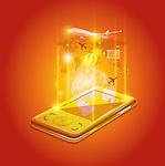 Illustrative image of mobile phone representing travel application